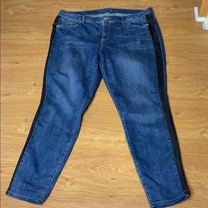 Code Bleu Size 16WR Blue Stretchy Black Stripe